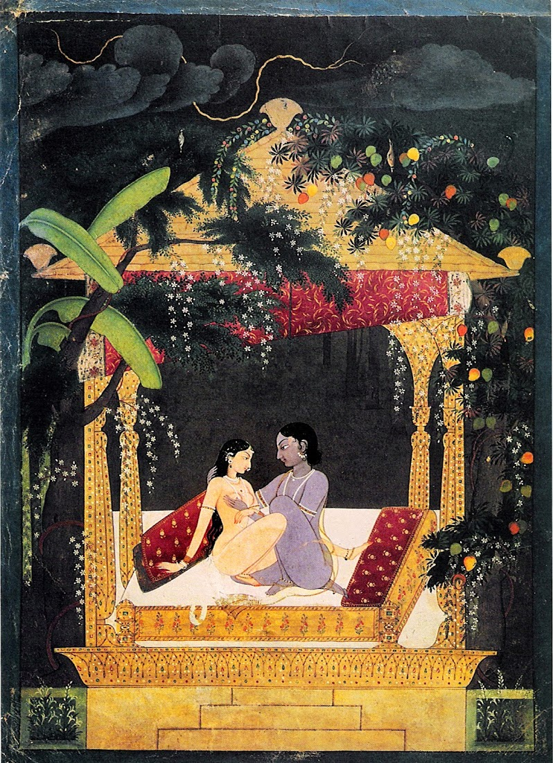 Krishna and Radha in a Pavilion - Pahari Painting, c1760