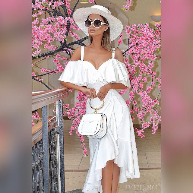 Ασύμμετρο άσπρο φόρεμα GRACIELA