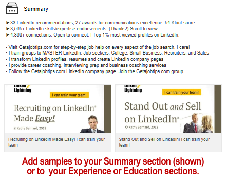 LinkedIn, displaying work samples on LinkedIn,