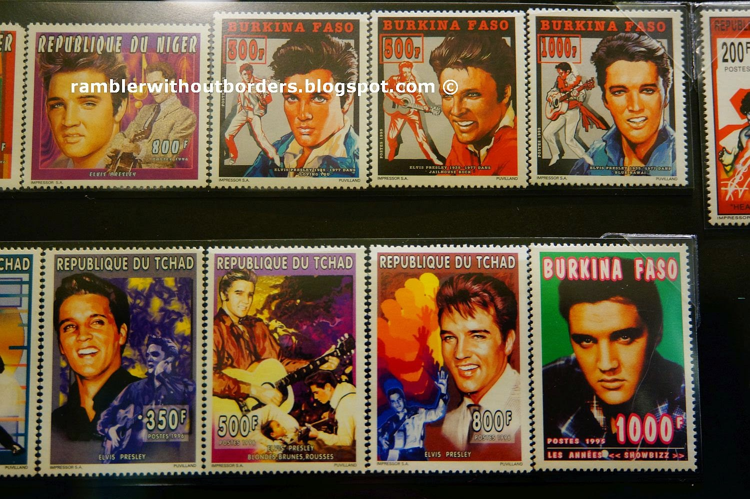 postage Stamps of Elvis Presley from the African countries of  Niger, Burkina Faso, and Republic of Chad