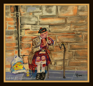 old man on sidewalk in kilt 30in30 pastel painting ncwren