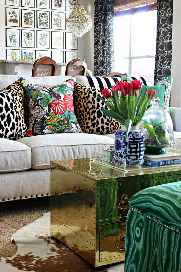 Ikea Fjadrar feather pillow insert, jamil leopard pillow, chiang mai dragon pillow, spring home tour