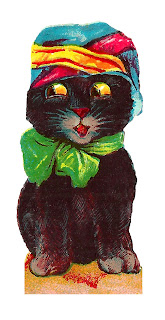 halloween image black cat hat bow costume clipart digital