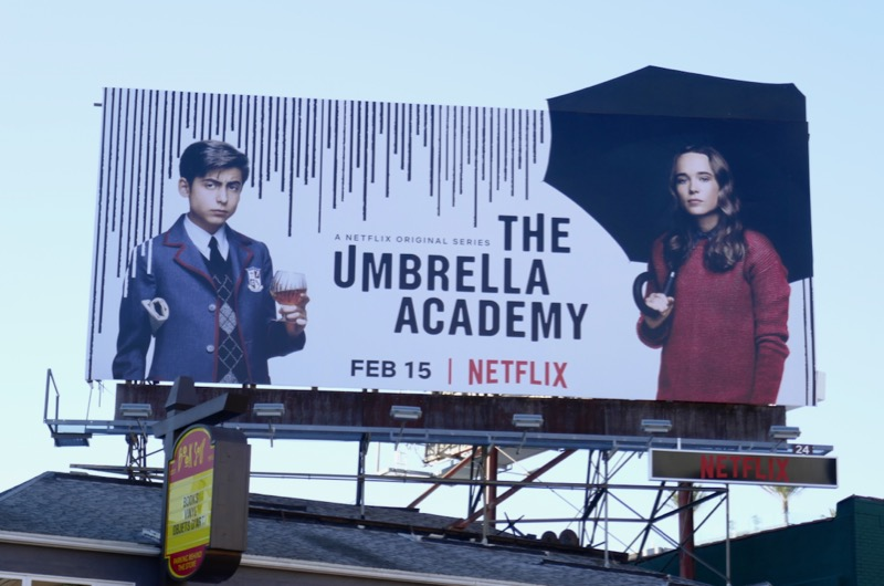 Umbrella Academy cut-out billboard