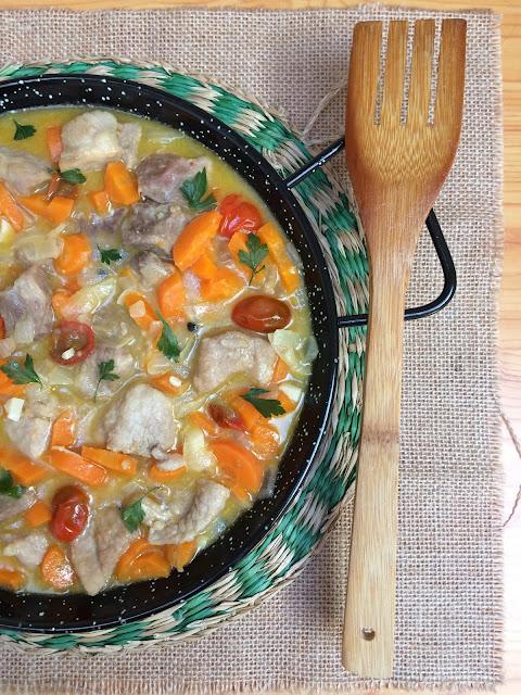 cerdo con verduras al cava receta