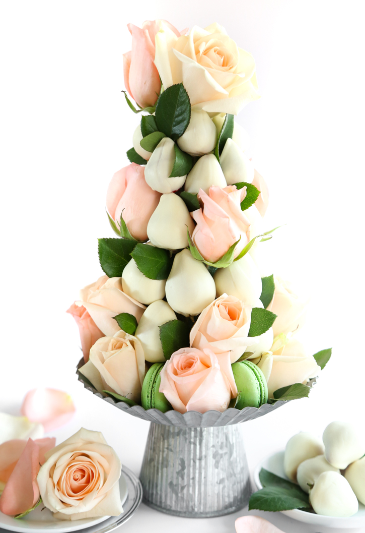 DIY Dipped Strawberry and Rose Tower Centerpiece