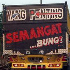 Gambar DP Bbm Tulisan Belakang truk semangat bung