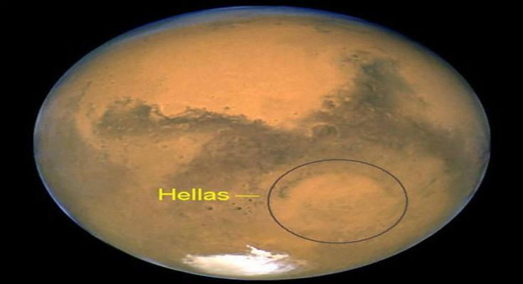 Υποψήφια για ζωή η τεράστια λεκάνη Ελλάς (Hellas) στον πλανήτη Άρη