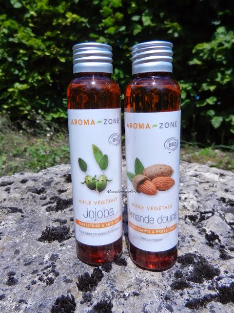 J'hydrate ma peau avec de l'huile végétale : Amande Douce et Jojoba (Aroma Zone)
