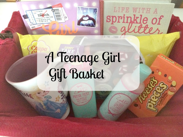 gift basket filled with gifts for a teenage girl