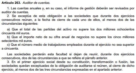 Parámetros obligación auditoría