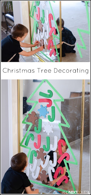 Christmas tree decorating activity for kids from And Next Comes L
