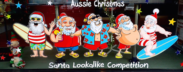 Silly Santa storefront window Laurieton New South Wales Australia