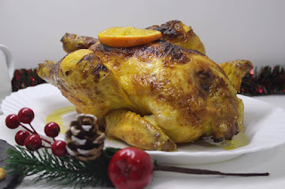 Pollo asado al Cognac - Brandy con toques de naranja (Rostizado)