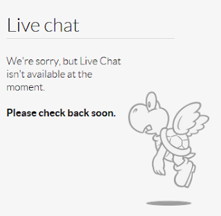Nintendo.com live chat is unavailable please check back soon Paratroopa Koopa