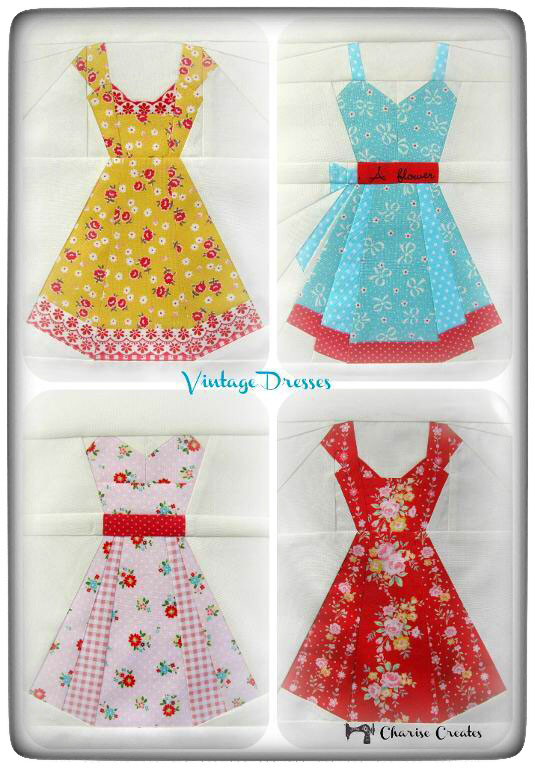 """Vintage Dresses"" pattern by Charise Creates on Thistle Thicket Studio. www.thistlethicketstudio.com"