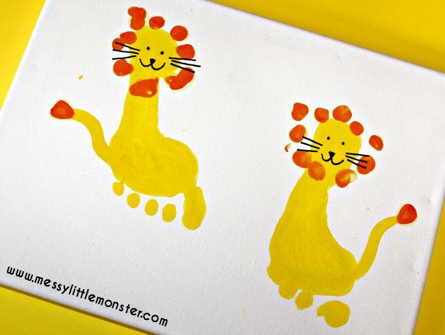 Lion Footprint Craft Messy Little Monster