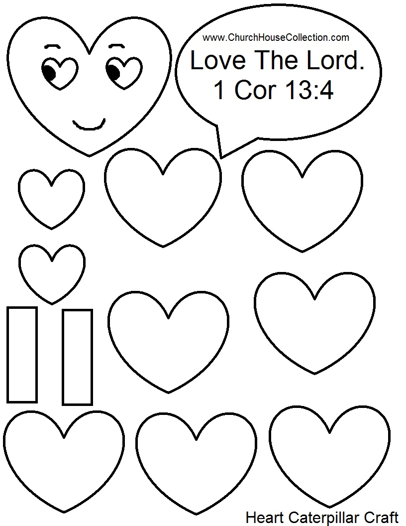 heart caterpillar valentines day printable template black and white version - Valentine Templates Printable