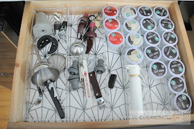 Organized kcup and wine accessories drawer in wine/coffee bar :: OrganizingMadeFun.com
