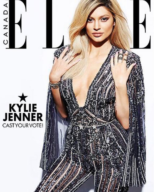 Kylie Jenner offers its fans to choose which photo it will be on the cover of the magazine ELLE Canada