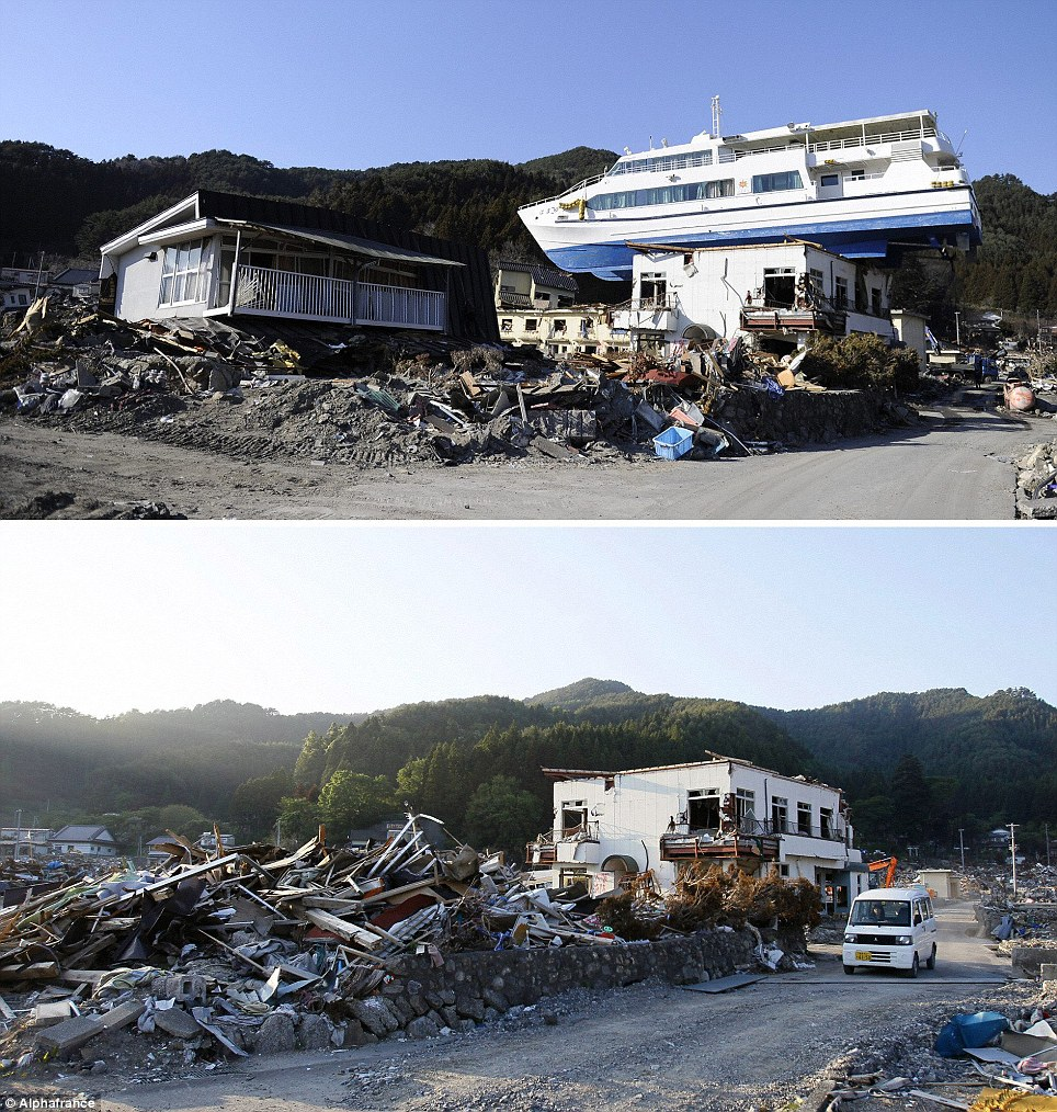 Back from the dead: Astonishing pictures show how Japan is recovering just three months after tsunami