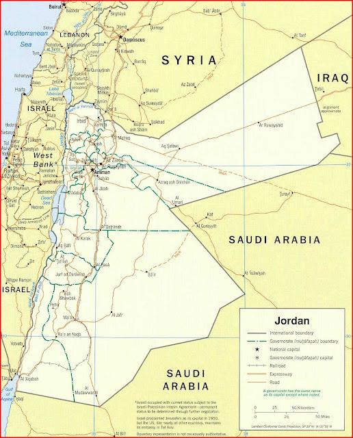 Gambar Peta politik Yordania