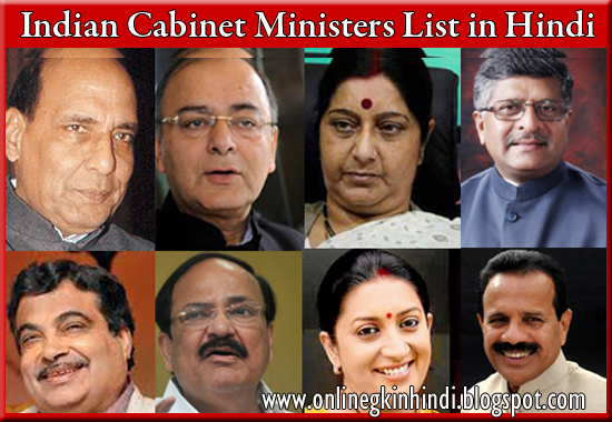 Current Indian Cabinet Ministers 2017 in Hindi - Online GK in ...