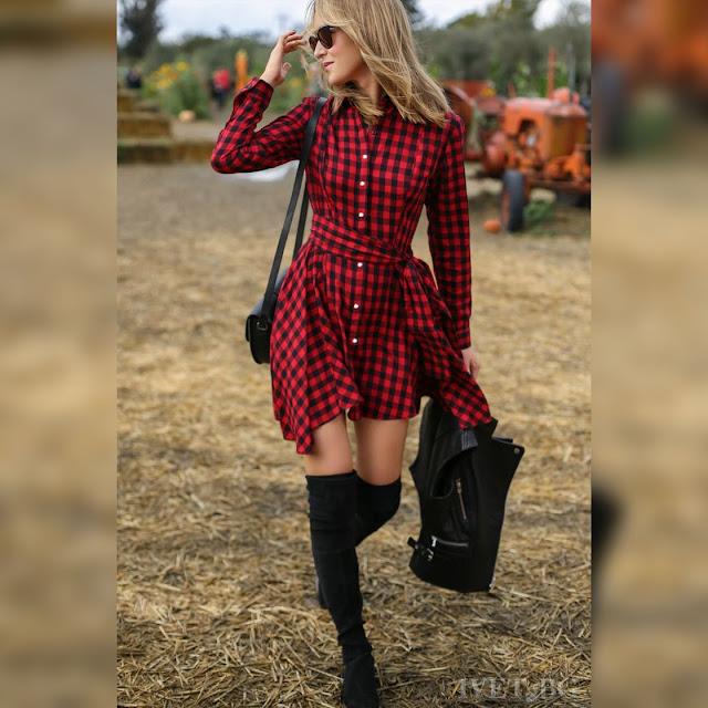 Μακρυμάνικο κοντό κόκκινο με μαύρο φόρεμα SANOMA