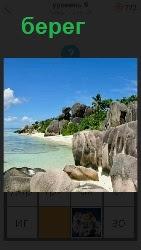 скалистый берег и вода плещется на камни