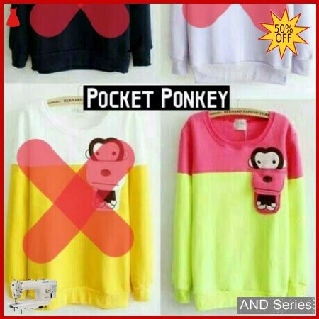 AND428 Baju Atasan Wanita Blouse Pocket Monkey BMGShop