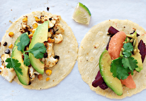 Cauliflower, Beetroot, and Avocado Tacos
