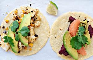 Cauliflower, Beetroot, and Avocado Tacos