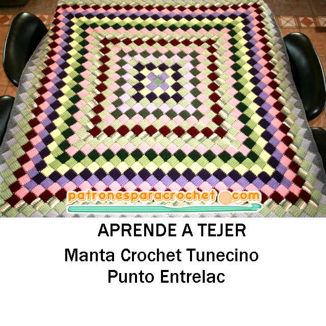 Tutorial manta crochet tunecino paso a paso en video