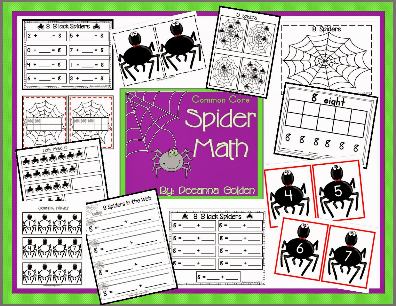 Golden Gang Kindergarten Common Core Spider Math