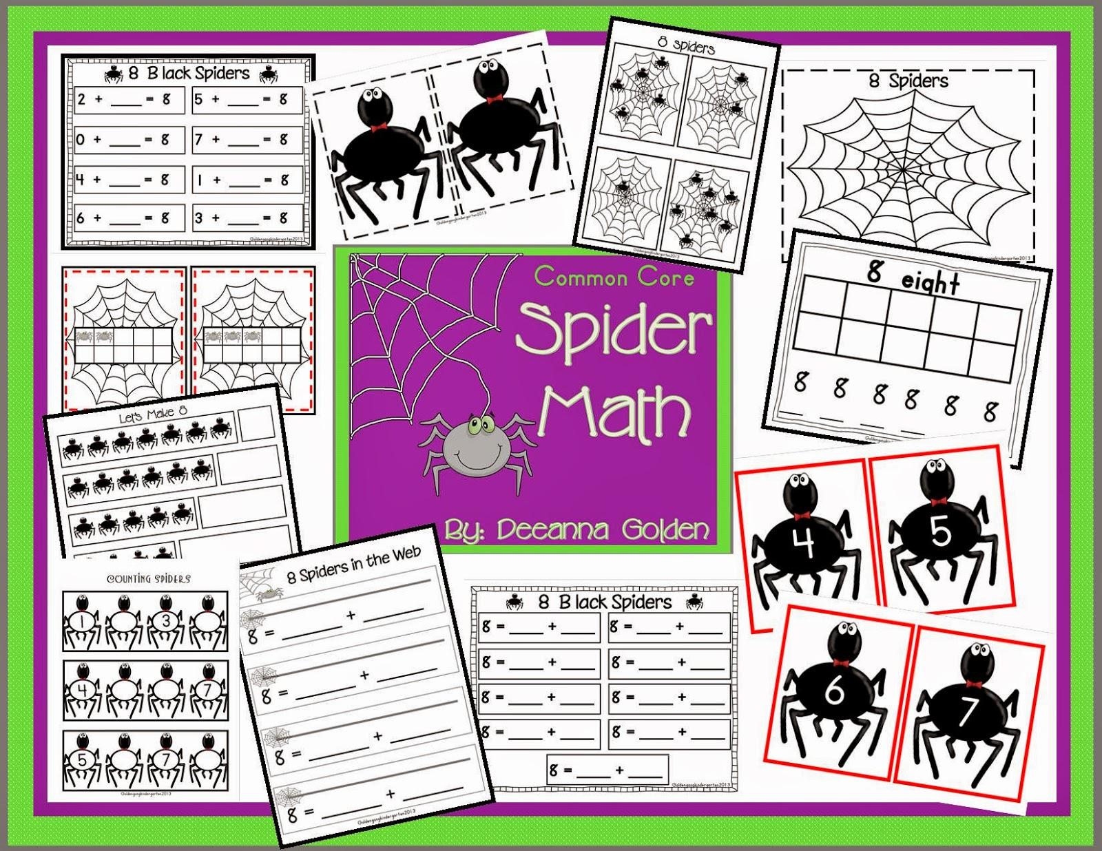 Golden Gang Kindergarten Common Core Spider Math