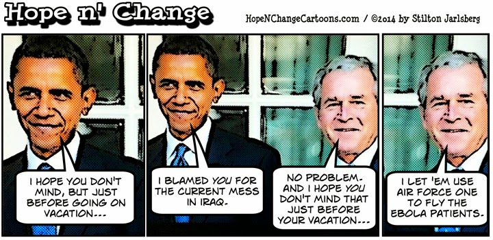 obama, obama jokes, cartoon, political, humor, conservative, hope n' change, hope and change, stilton jarlsberg, iraq, bush, vacation