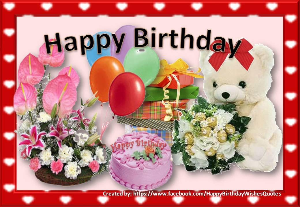 Beautiful Birthday Card With Flowers Balloons Gifts And A Teddy