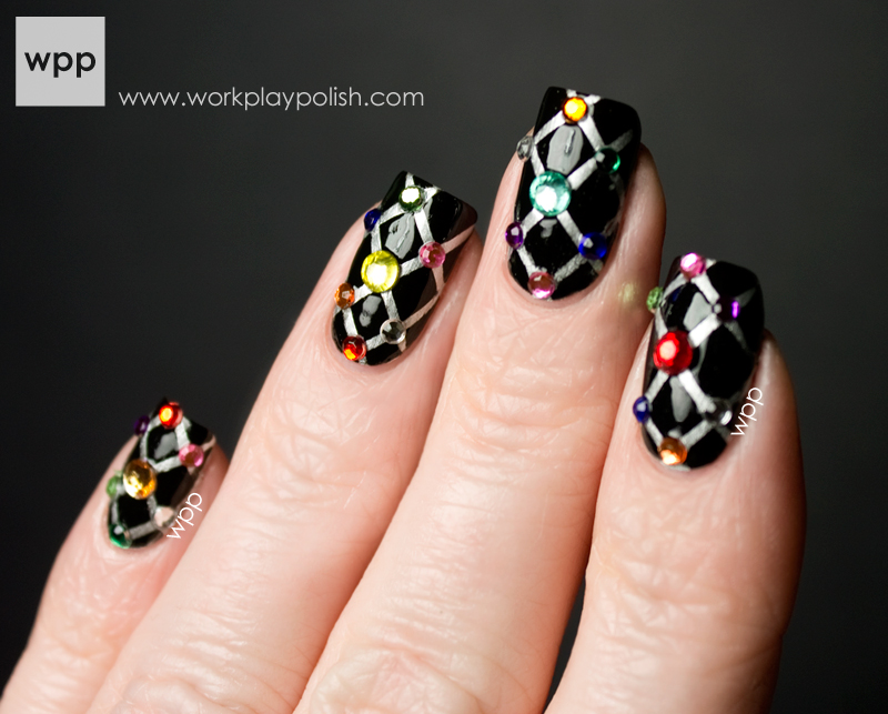 Quilted nail art design using striping tape and Kiss Rhinestones from the May Nail Art Society kit