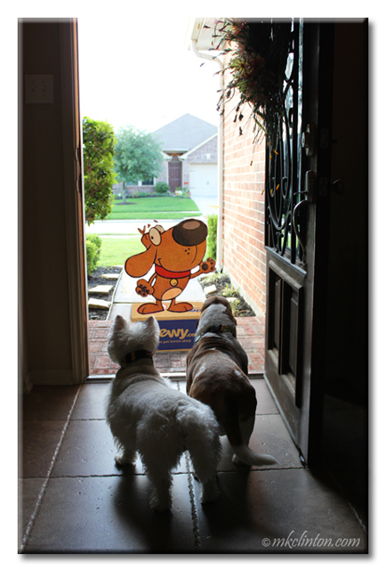 Chewy mascot at the front door with two dogs