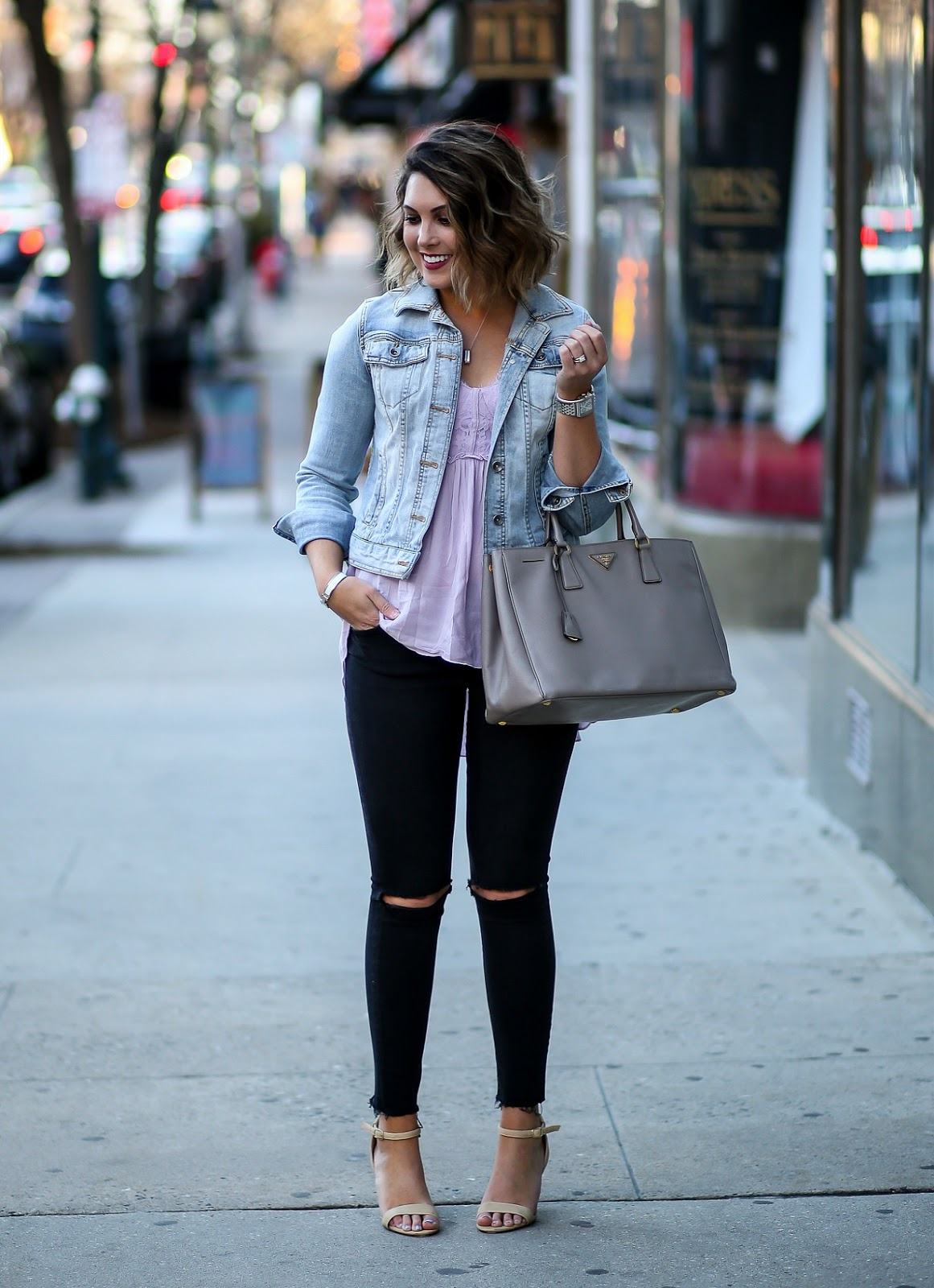 denim jacket with black jeans