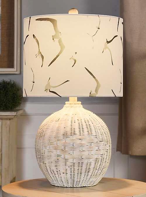 White Rattan Wicker Lamp Coastal