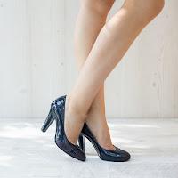 Pantofi dama Piele Majory albastri cu toc gros • modlet