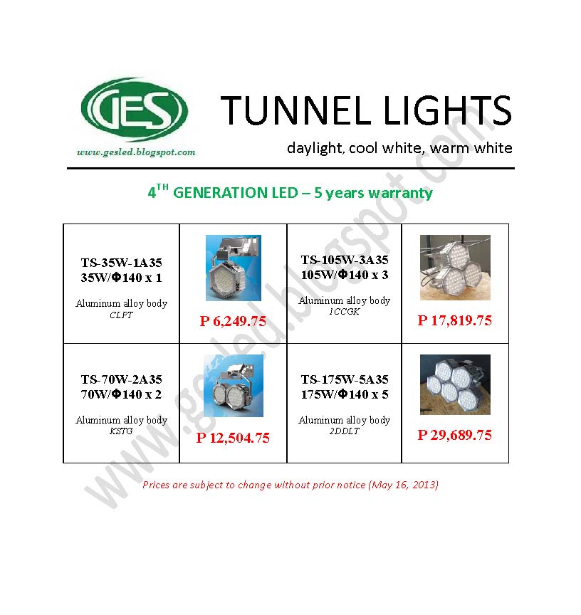 Flood And Tunnel Lights Ges 4th Generation Led Lights