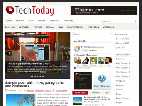 Free TechToday - News/Magazine WordPress theme