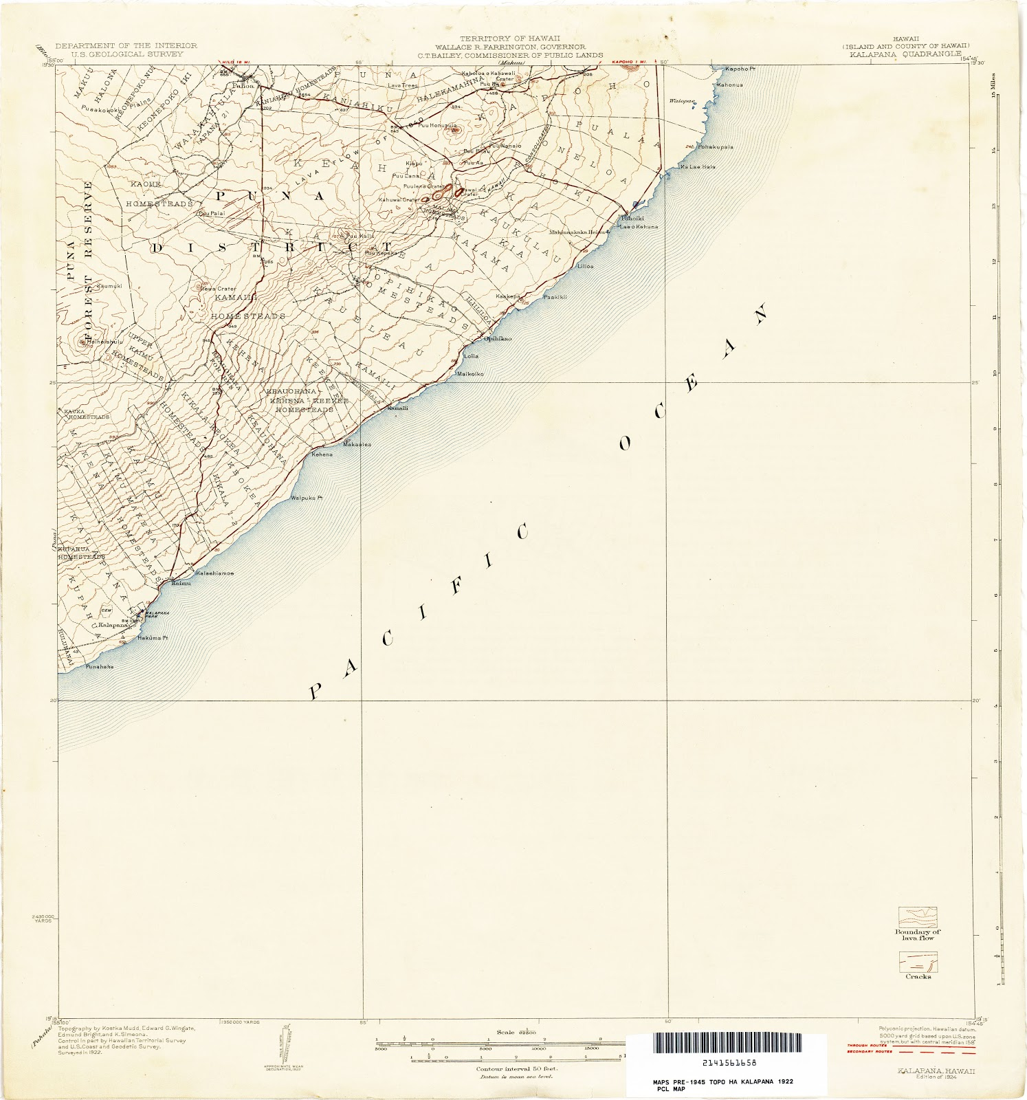 these 1922 topo quads of the puna coast have a contour interval of 50 feet if you blow up the map to its original size by clicking on it you ll see that