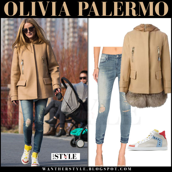 Olivia Palermo in camel short moncler fenelon coat, ripped black orchid jude jeans and max and co sneakers what she wore