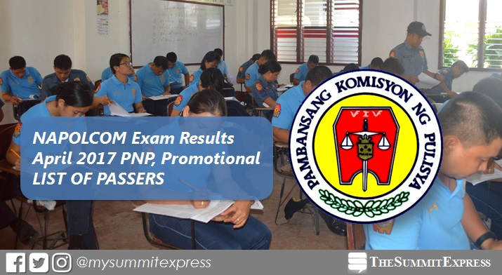 List of Passers: April 2017 NAPOLCOM exam results