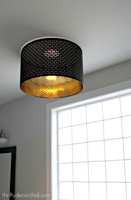 Large black drum shade flush mount