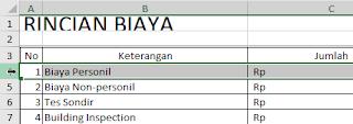 Pilih baris Excel untuk menghapus datau menambah baris