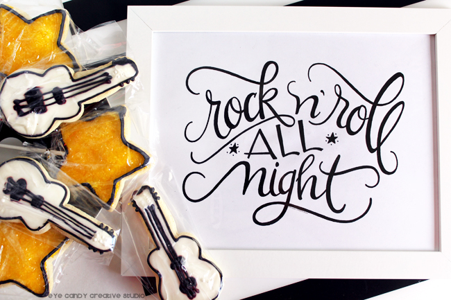 rock n roll, type art, lettering, hand lettering, pen and ink, guitar cookie